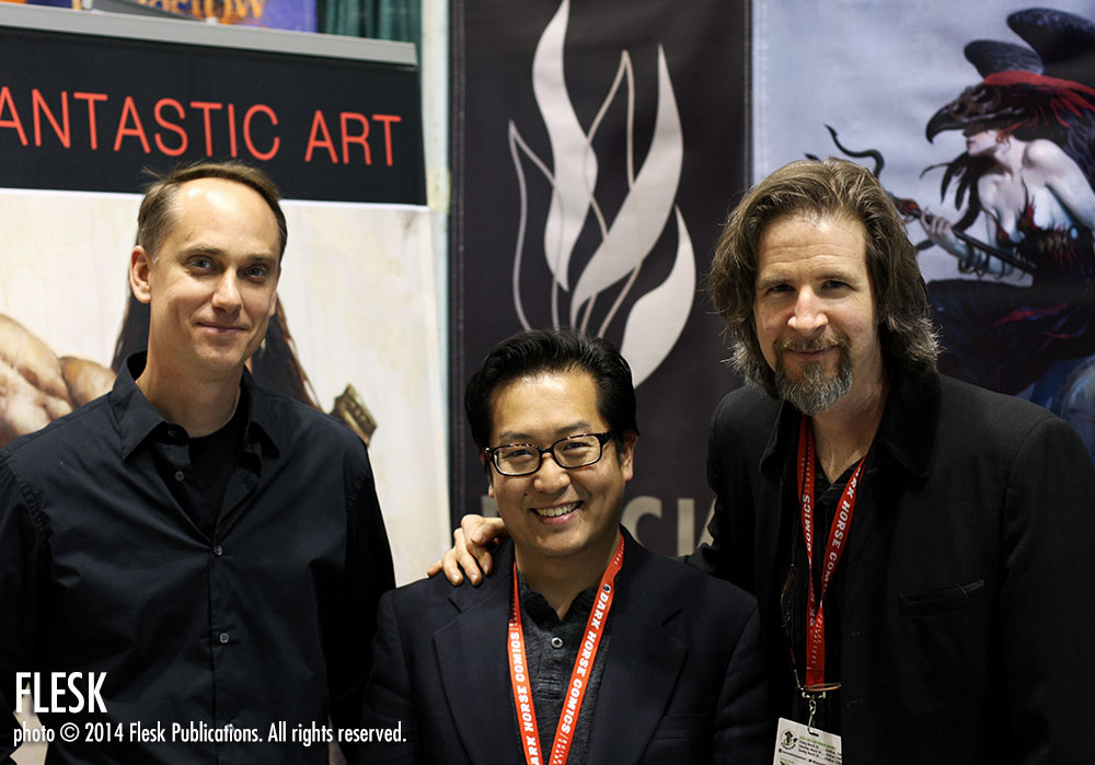 John Flesk, Frank Cho and Brom at the Flesk booth #1702 today at Emerald City Comicon.
