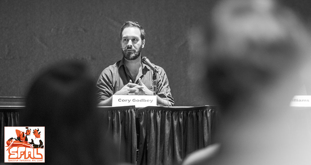 Cory Godbey speaking at the Spectrum 21 panel at Spectrum Fantastic Art Live. Photo by Vidur Gupta / Helpful Bear Productions for Spectrum Fantastic Art Live © 2014. All Rights reserved.