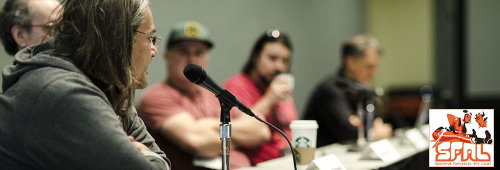 Left to right: Allen Williams, Wayne Barlowe, Justin Sweet and Vance Kovacs and Iain McCaig continue their discussion about working in the film industry at SFAL. Photo by Vidur Gupta / Helpful Bear Productions for Spectrum Fantastic Art Live © 2014. All Rights reserved.