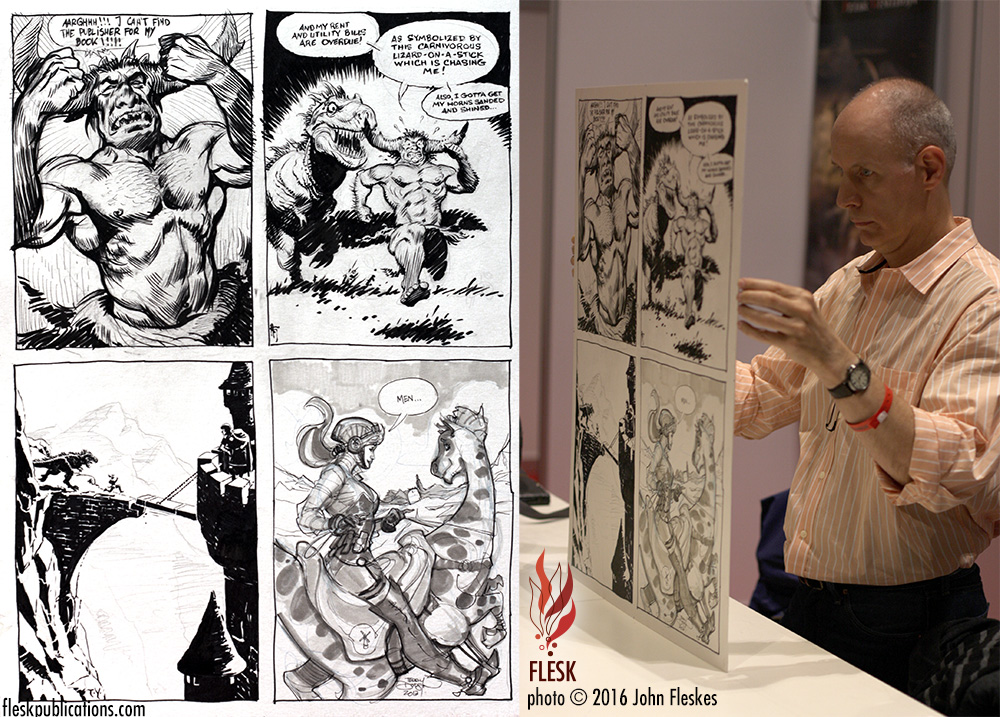 The photo at left shows the finished piece, while the photo at right shows Mark Schultz holding up the original.